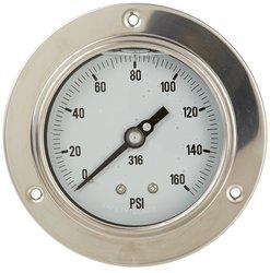 PIC 314L-254I-SIL 0/400 Psi Range Silicone Filled Back Pressure Gauge