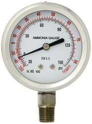 PIC 401DFW-254CF Dry/Fillable Bottom Mount Ammonia Refrigeration Gauge