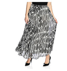 WD.NY Women's Printed Woven Pleat Side-Zip Maxi Skirt - Black/ White - 1x