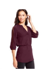 Bcx Juniors' Crochet-Trim Belted Tunic Top - Wine - Size: Small