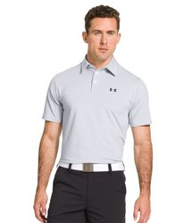 Under Armour Elevated Striped Performance Polo - Heather/Black - Size: L