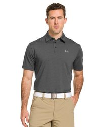 Under Armour Elevated Heather Stripe Polo Tee - Men's Black / Carbon Heather / Steel XL