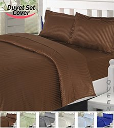 Utopia Bedding Striped Duvet Cover Set - Brown - Size: Queen