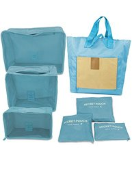 Dahlia 7pc Set Travel Organizers - Packing Cubes And Foldable Tote - Blue