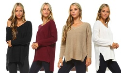Women's V-neck Knit Sweater: Black/medium