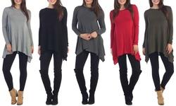 Women's Tunic Sweater: Red - Medium