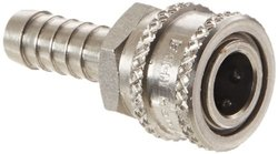 "EH 1/4"" Hose ID Stainless 303 Straight Through Ball Lock Hydraulic Fitting"