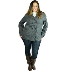 Double Breasted Peacoat Plus Size Jacket   DBA1852GY3   Charcoal   3X