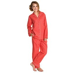 Angelina Women's Cotton-flannel Pajama Set - Red Pin -Size: Large
