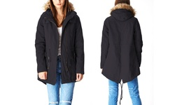Glamsia Lady Cotton Parka Jacket/Fur Lined Hood - Black - Size: Large