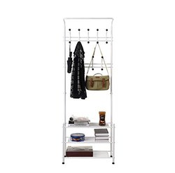 Homfa Fashion Heavy Duty Garment Rack with Shelves 3-Tier Shoes Rack, Coat Rack Hooks, Clothes Rack with Hanger Bar (White)