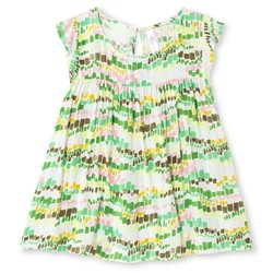 Cherokee Girls' Geometric Print Blouse - Glistening Green - Size: Medium
