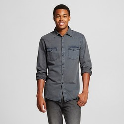 Mossimo Men's Long Sleeve Denim Shirts - Smokestone - Size: Small