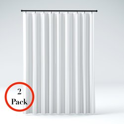 2-Pack Mildew Resistant Shower Curtain Liners - White Damask Stripe