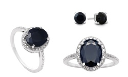 Firefacet 3.50 CTTW Sapphire & Diamond Ring with Stud Earrings - Size: 8