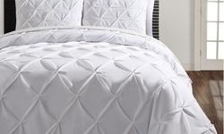 3-Piece Triple Diamond Duvet Cover Set - White - Size: Queen