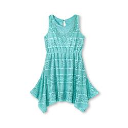 Xhilaration Girls' Sleeveless Crochet Dress - Aqua Blue - Size: Medium