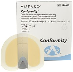 "Amparo Medical Conformity 170010 Dual Formulation Hydrocolloid Wound Dressing, Latex Free, 7.1"" x 6.5"" (Pack of 10)"