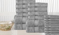 Casa Platino Cotton Bath Towel Set: Platinum (10-piece)