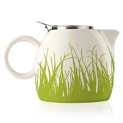 Tea Forte Ceramic Teapot with Stainless Tea Infuser - Spring Grass - 24Oz