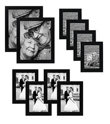 AMFLAT 10-piece Multi Pack Black Picture Frame Set - Multiple Sizes and Constructions - Four 4x6 Inches - Four 5x7 Inches - Two 8x10 Inches - Glass Front - Hanging Hardware Included