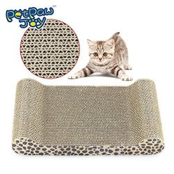 PETPAWJOY #1 PREMIUM CARBOARD CAT SCRATCHING BOARD with Free Catnip Great Leopard Style Cat Scratching Pad Extremely Durable Kitten Scratching Board C Satisfies cats Natural Scratching Instincts