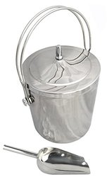 Premium Ice Bucket   Insulated Stainless Steel Double Walled   Top Handle For Carrying One Handed   Quality 8 Inch Solid Stainless Steel Scoop   Keeps 1/2 Gallon Of Ice