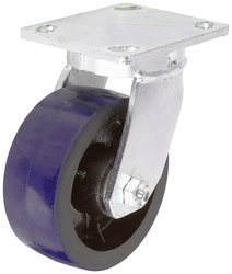 RWM Casters Plate Caster Foot Operated Lock Iron Wheel Roller Bearing
