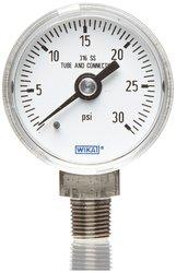 Wika Industrial Pressure Gauge Dry-Filled Stainless Steel 0-15 psi Range