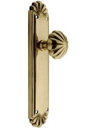 Emtek Trenton Door Set with Fluted Brass Knobs -Privacy French Antique