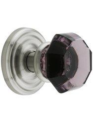 Emtek Rosette Set with Amethyst Crystal Door Knobs - Passage Satin Nickel