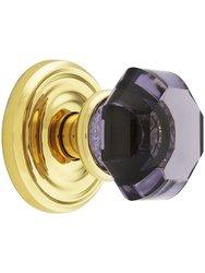 Emtek Rosette Set with Amethyst Crystal Door Knob - Privacy Polished Brass