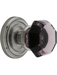 Emtek Rosette Set with Amethyst Crystal Door Knob - Passage Antique Pewter