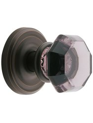 Emtek Rosette Set with Amethyst Crystal Knobs - Bronze- Privacy Oil-Rubbed