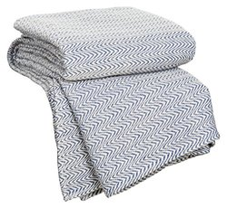 Chevron 100% Egyptian Cotton Blanket: Blue/king