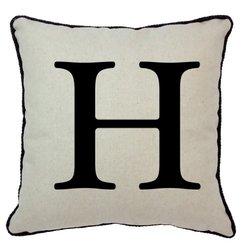 "Spice Home D?cor 17"" Graphics Alphabet Linen and Cotton Blend Throw Pillow"