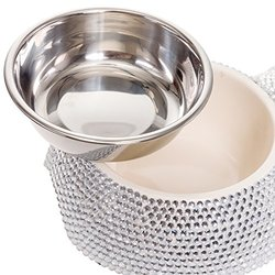 Crystal Rhinestone Bling Small Dog Bowl - Stainless Steel - Silver
