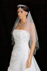 "2T 2 Tier Crystal Pearl Beaded Edge Bridal Wedding Veil - white Elbow Length 30"" V292"