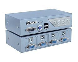 DTECH 4 Port VGA Switch with USB 2.0 and PS2 KVM Switcher (DT-8041)