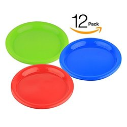 12-Plates Reusable Hard Plastic Party and Luncheon Tableware - Assorted