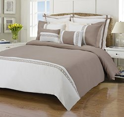 Superior Emma Full Queen 7-Piece Duvet Cover Set  Ivory Taupe