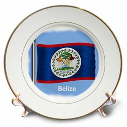 3dRose cp_55481_1 The Flag for The Country of Belize Waving on a Blue Background Porcelain Plate, 8-Inch
