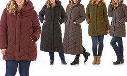 Steve Madden Women's Hooded Chevron Quilted Coat - Merlot - Size S