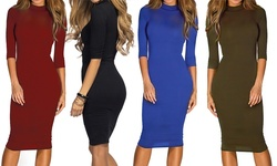 Women's Bodycon Midi 3/4 Sleeve Dress: Royal Blue/large