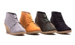 Sociology Bootie Lace Up Micro Wedge Nancy - Grey/7.5