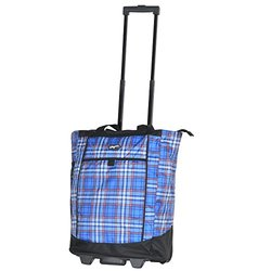 Olympia USA Fashionista Rolling Shopper Tote: Plaid Blue