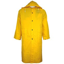 Global Glove PVC Raincoat with Detachable Hood 12 Pks - Yellow - Size: 2XL