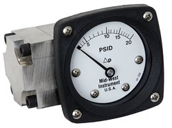 Mid West Differential Pressure Gauge Steel Body 0-20 IN H2O Range 3000 Psi