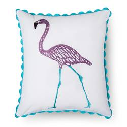 "Sabrina Soto Chloe Flamingo Throw Pillow - Multi - Size: 14"" x 16"""