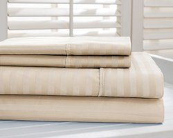Hotel New York Dobby Stripe 1000tc Cotton-Rich Sheets: Taupe/Queen